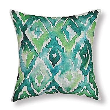 Euphoria Home Decor Cushion Covers Pillows Shell Cotton Linen Blend Aquarelle Watercolor Painting Print Geometric Green 18  X 18