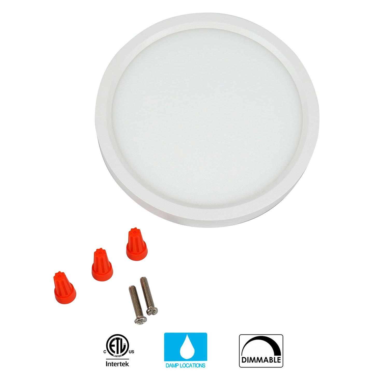 JULLISON 7 inch LED Slim Surface Mount Ceiling Light Fixture, 120V, 15W, 900LM, 3000K Warm White, CRI80, Driverless, ETL Certified, Damp Location, White - Round, 1 Pack by JULLISON (Image #4)