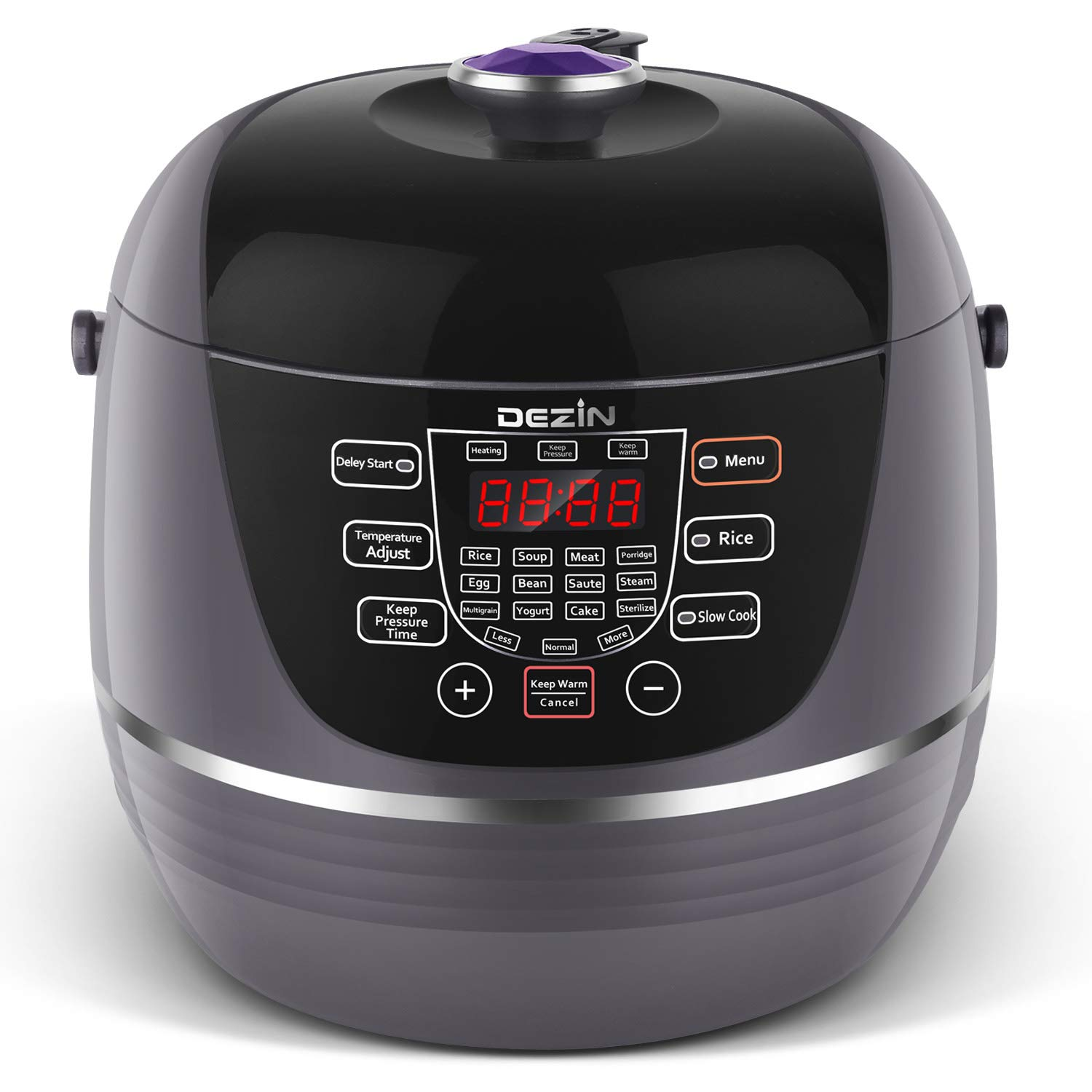 Dezin Electric Pressure Cooker 6 Qt 10-in-1 Programmable Pressure Cooker, Slow Cooker, Rice Cooker, Sauté, Yogurt, Cakes, Hot Pot, Steamer, Warmer, and Sterilizer with Stainless Steel Pot, Steam Rack