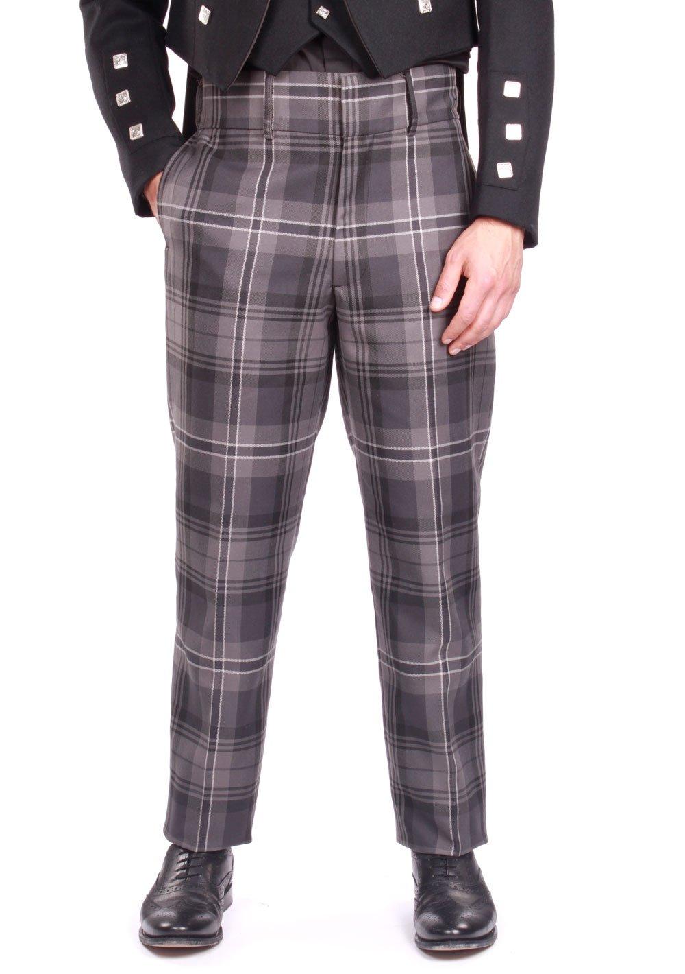 Kilt Society Mens Essentials Scottish Hamilton Grey Tartan Trousers Trews 44 Long