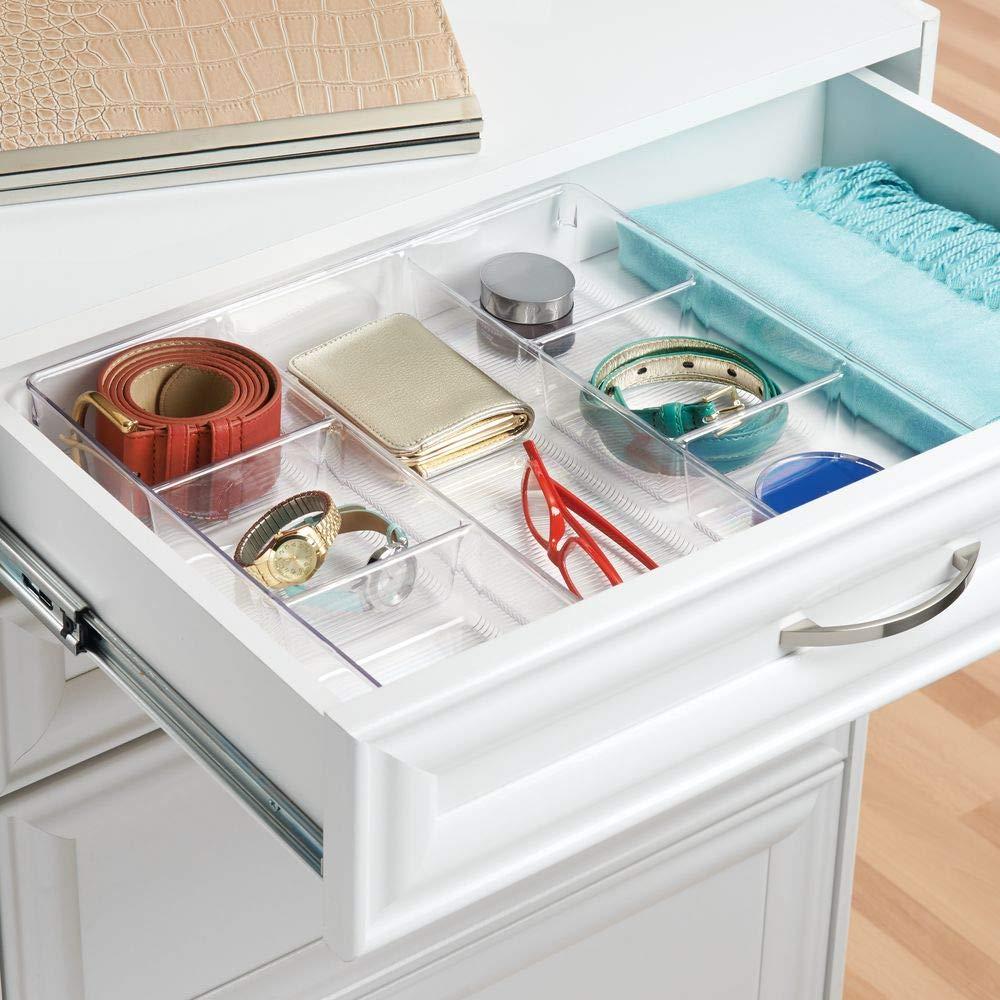 InterDesign 60730 Linus 3 Sections  Dresser Drawer Organizer Clear