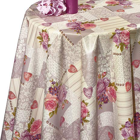 DECOSER Heavy Duty Flannel Backed Vinyl Tablecloth Easy to Wipe/Clean Oil/Waterproof PVC Table Cover ()