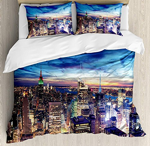 Full Size City 3 Piece Bedding Set Duvet Cover Set,Empire State and Skyscrapers of Midtown Manhattan New York Aerial View at Dusk,3 Pcs Comforter/Qulit Cover Set with 2 Pillow Cases,Tan Navy Blue Aqua