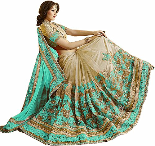 (Nivah Fashion Women's Satin & Net Half & Half Embroidery work With Real Diamond's Material Saree K663(Turquoise))