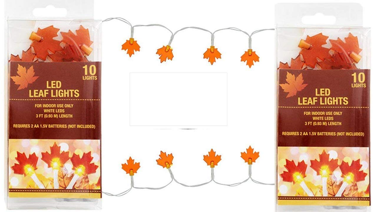 TopNotch Outlet Leaf String Lights - Maple Leaf Decor (2 packs) Craft Projects - Bring New Drama To Any Fall Craft Project - Fall Decorations - LED Lights Battery by TopNotch Outlet