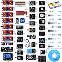 Kuman K5-USFor Arduino Raspberry pi Sensor kit, 37 in 1 Robot Projects Starter Kits with Tutorials for Arduino Uno RPi 3 2 Model B B Plus K5