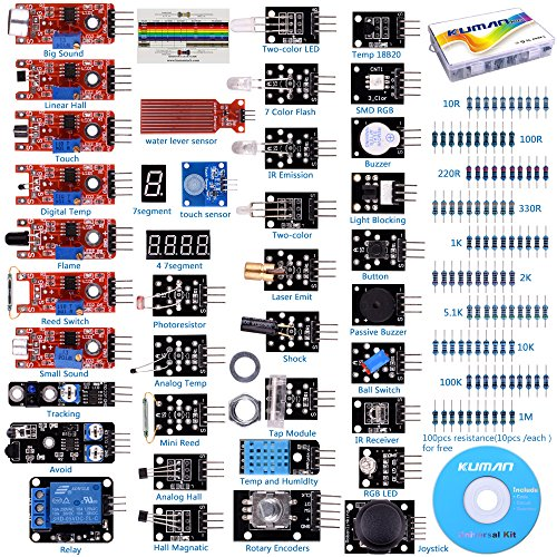 - kuman K5-USFor Arduino Raspberry pi Sensor kit, 37 in 1 Robot Projects Starter Kits with Tutorials for Arduino Uno RPi 3 2 Model B B+ K5