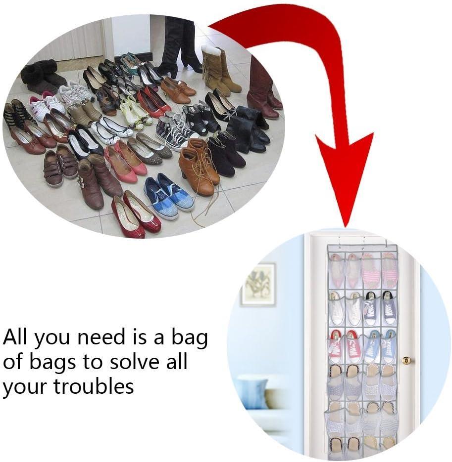 syst/ème de rangement organiseur de chaussures /à suspendre sur diet/ür 24/poches Chaussures Organisateur Rangement Chaussures Support pour chaussures suspendu