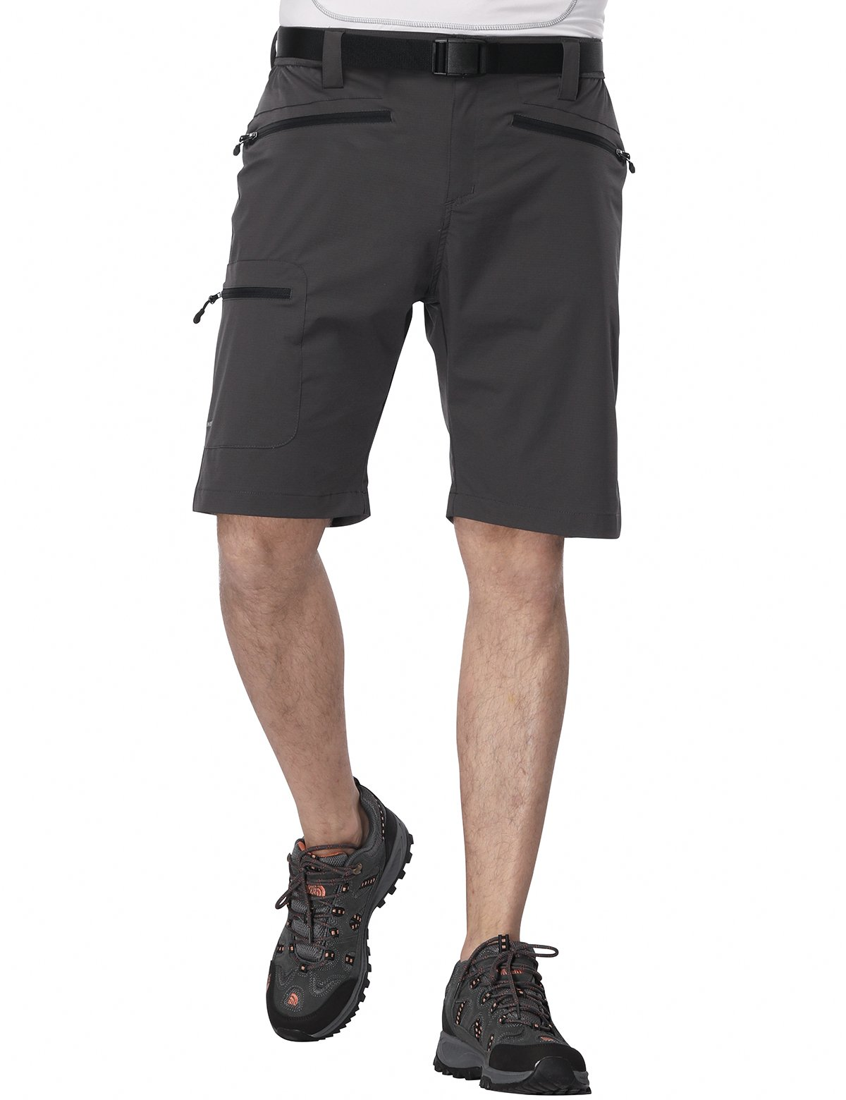 MIERSPORT Men's Travel Cargo Short Lightweight Water Resistant Hiking Short with 5 Pockets, Quick Dry Nylon, Side Elastic Waist, Graphite Gray, XL