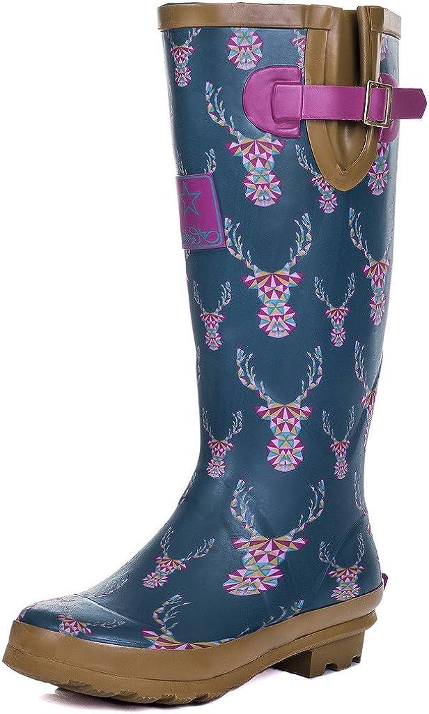 SpyLoveBuy Igloo Womens Knee High Flat Festival Wellies Rain Boots