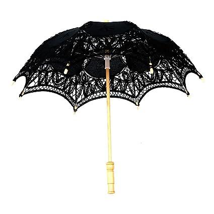 dfc0b1f2c1a7 30x51cm , Black : lace umbrella - SODIAL(R) Victorian umbrella ...
