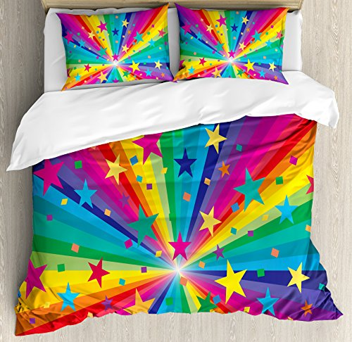 Ambesonne Abstract Home Decor Duvet Cover Set Queen Size, Abstract Rainbow and Stars Confetti Rays Striped Celebrating Happy Times, Decorative 3 Piece Bedding Set with 2 Pillow Shams