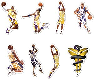 TSR Kobe Stickers for Basketball Star Stickers (8 Pieces) for Laptop, iPhone, Cars, Motorcycle, Bicycle, Skateboard Luggage, Bumper Stickers Hippie Decals Bomb Waterproof(R.I.P. )