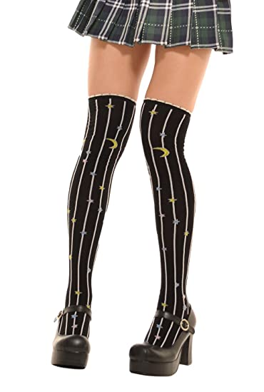 84207602f3a Lolta Charm Alice Collection Over Knee Socks-Moon Stars-Black at ...
