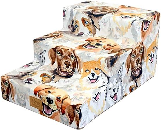 Escalera de Mascota 3 Pasos Escaleras para Perros pequeños Gatos - Interior Escalera de rampa para Mascotas para Cama y sofá - Altura 30 cm, Cubierta Lavable a máquina: Amazon.es: Hogar