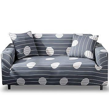 HOTNIU Funda Elástica de Sofá Funda Estampada para sofá Antideslizante Protector Cubierta de Muebles (4 Plazas, Impresión #by)