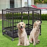37 inch Heavy Duty Dog Cage Strong Metal Kennel XL, Large Animal Crate Pet Tray …