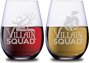 SMOOCHIES Villain Squad Stemless Wine Glasses 2pc Set Evil Queen & Ursula Poison Apple/Trident Graphic Villains Permanent Etched Glass Sets for Couples Dishwasher Safe 14oz Leadfree Glassware