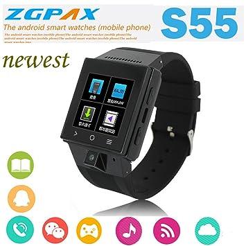 Nuevo arrivel ZGPAX S55 Inteligente Reloj 1.54 pulgadas, 2.0 m cámara Bluetooth reloj inteligente para iPhone y Android phone Smartwatch: Amazon.es: ...