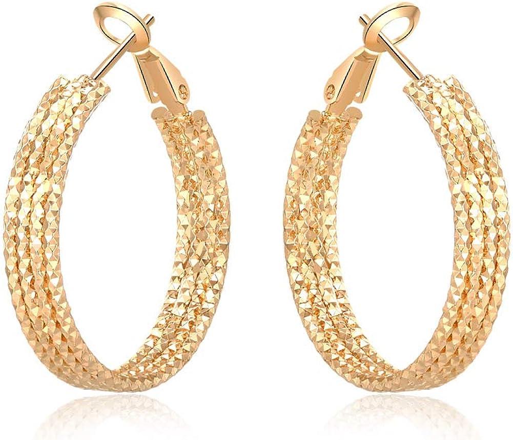 30 mm Yumay Boucles doreilles cr/éoles en or 9 carats 4 couches avec coupe diamant pour femme