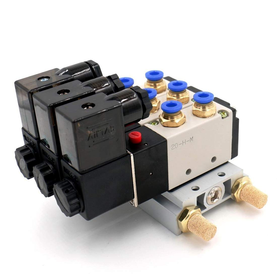 Woljay Pneumatic Solenoid Air Valve 4V210-08 AC 380V PT 1//4 2 Position 5 Way Normally Closed 3 Pneumatic Solenoid with Base Quick Fittings Muffler Set
