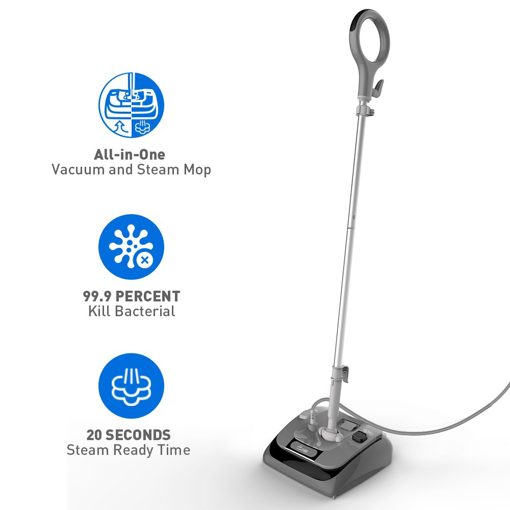 Vacuum Steam Mop - ALL IN ONE Vacuum & Steam Mop for Hard Floor Cleaning, 20 Seconds Steam Ready Time, Floor Vacuum Steam Cleaner w/ 4 OZ Tank and 20FT Cord, without Carpet Gilder, 12 months Warranty