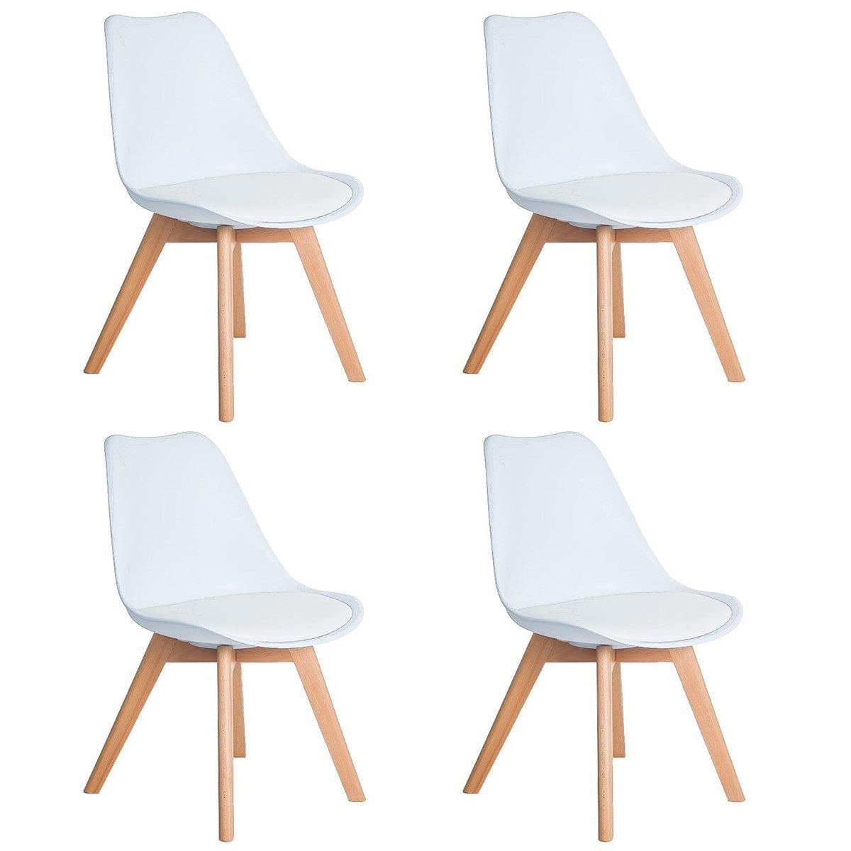 DORAFAIR Pack 4 sillas escandinava Estilo nórdico Silla de Comedor, con Las piernas de Madera