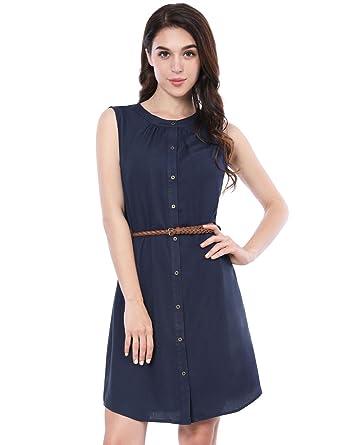 4a266d0f37 Allegra K Women s Sleeveless Button Down Above Knee Belted Dress XS Blue