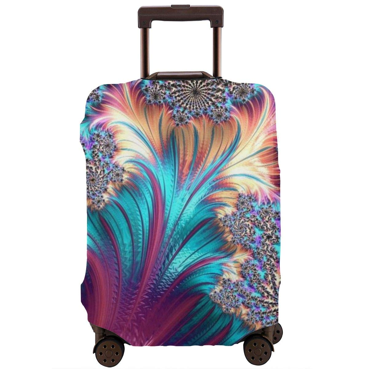 Luggage Cover Fractal Puffy Feather Art Purple Protective Travel Trunk Case Elastic Luggage Suitcase Protector Cover