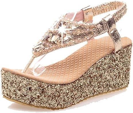 MUNDERA Women Glitter Wedge Thongs
