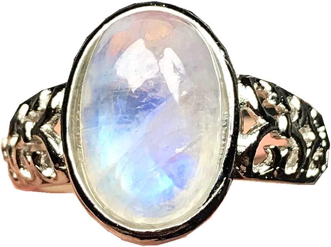Anillo de piedra lunar natural de la parte superior, anillo de piedra lunar arcoíris para mujer, hombre, cristal de luz azul, 14 x 10 mm, tamaño ajustable, AAAAA