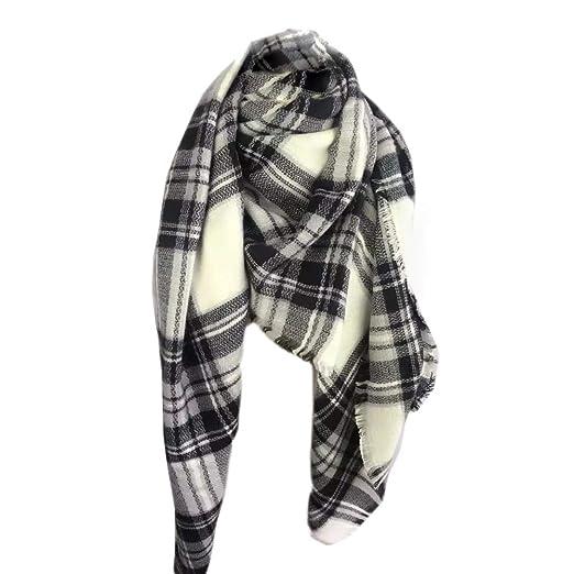 537c6e4670a Sundayrose Plaid Blanket Scarf Oversized Square Tartan Shawl Wrap