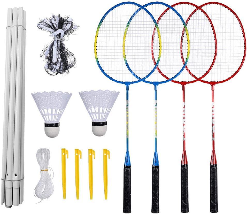 6 Filet avec piliers,2 balles 22PCS Ensemble dentra/îneur de Badminton,Combinaison de Badminton Portable Syst/ème de Badminton,pour Adulte et Enfant,Sport Ensemble de Badminton 4 Raquettes D