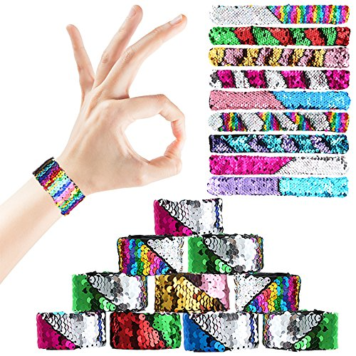 PP OPOUNT 20 Pieces Slap Bracelets Two-color Reversible Charm Sequins Glitter Mermaid Slap Bracelet for Birthday, Party Favors  by PP OPOUNT