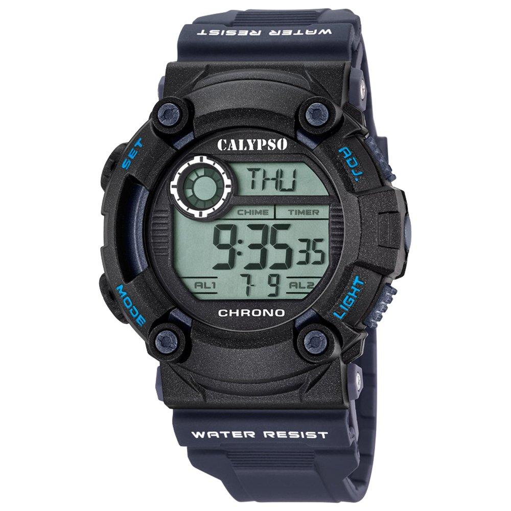 Deportes Calypso Herren-reloj PU-pulsera azul digital cuarzo-reloj negro Dial UK5694/5