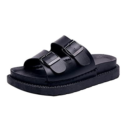 92fb82350f80 Gaorui Women s Casual Double Buckle Straps Sandals Flip Flop Platform  Footbed Summer Open Toe Fashion Flat