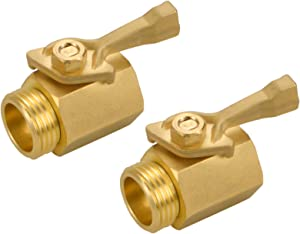 JUSONEY Hose Heavy Duty Brass Shut Off Valve,3/4INCH Standard Thread Solid and Durable,Easy to Use,2PCS Garden Shut Off Valve Garden Hose Connector with 6 Extra Rubber Washers