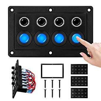 3 Gang Blue 3 Gang Toggle Rocker Switch Panel with LED Indicator Far Car Marine Boat Yacht Truck RV Vehicle