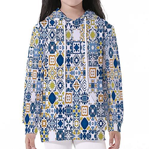 iPrint Pocket Hooded Sweatshirt,Yellow and Blue,Mosaic Portuguese Azulejo Mediterranean