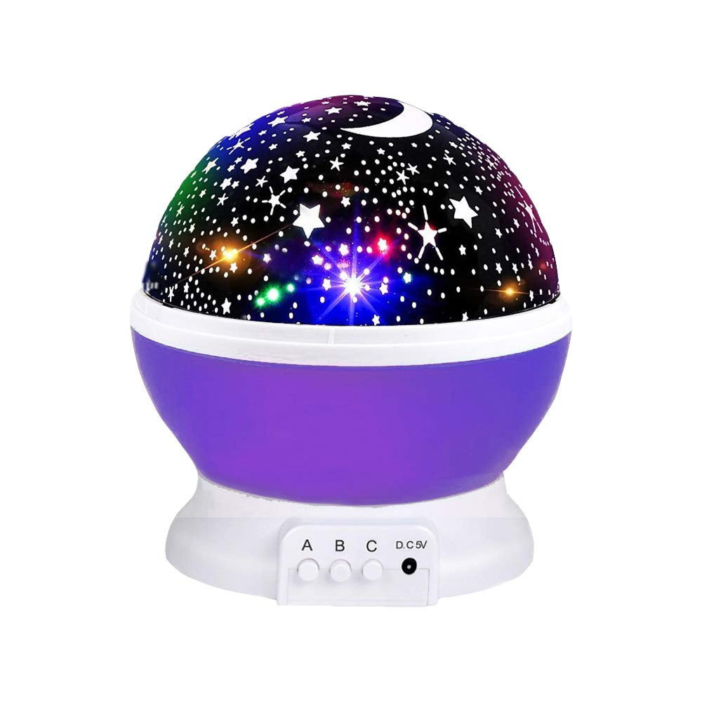 Star Projection Light for Kids, Starry Light Lamp 360 Degrees Rotating Moon Star Projector Night Lamp Rotating Starry Projector for Adult Children Christmas Lights Gifts for Girls Age 3-12 Purple