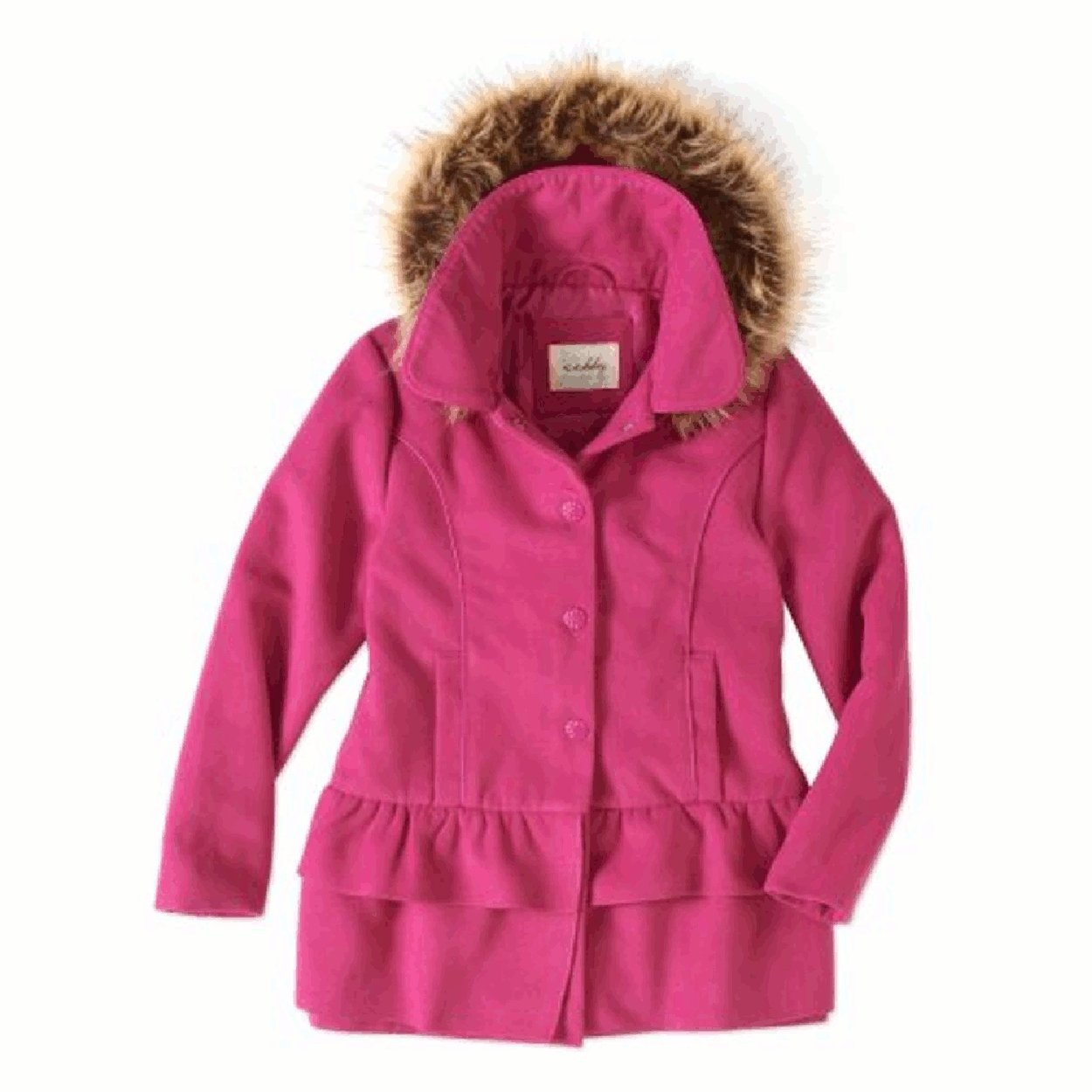 Sebby Baby Toddler Girl Fleece Ruffle Tiered Coat with Faux Fur Hood