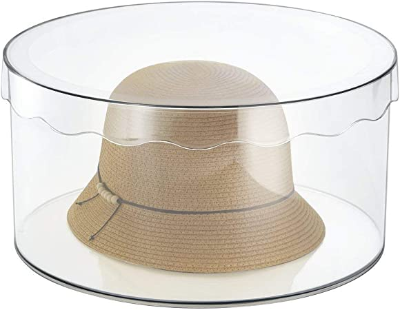 mDesign - Caja organizadora redonda con tapa - orden en todas las habitaciones - cajonera para cinturones, bufandas, juguetes - grande/transparente: Amazon.es: Hogar