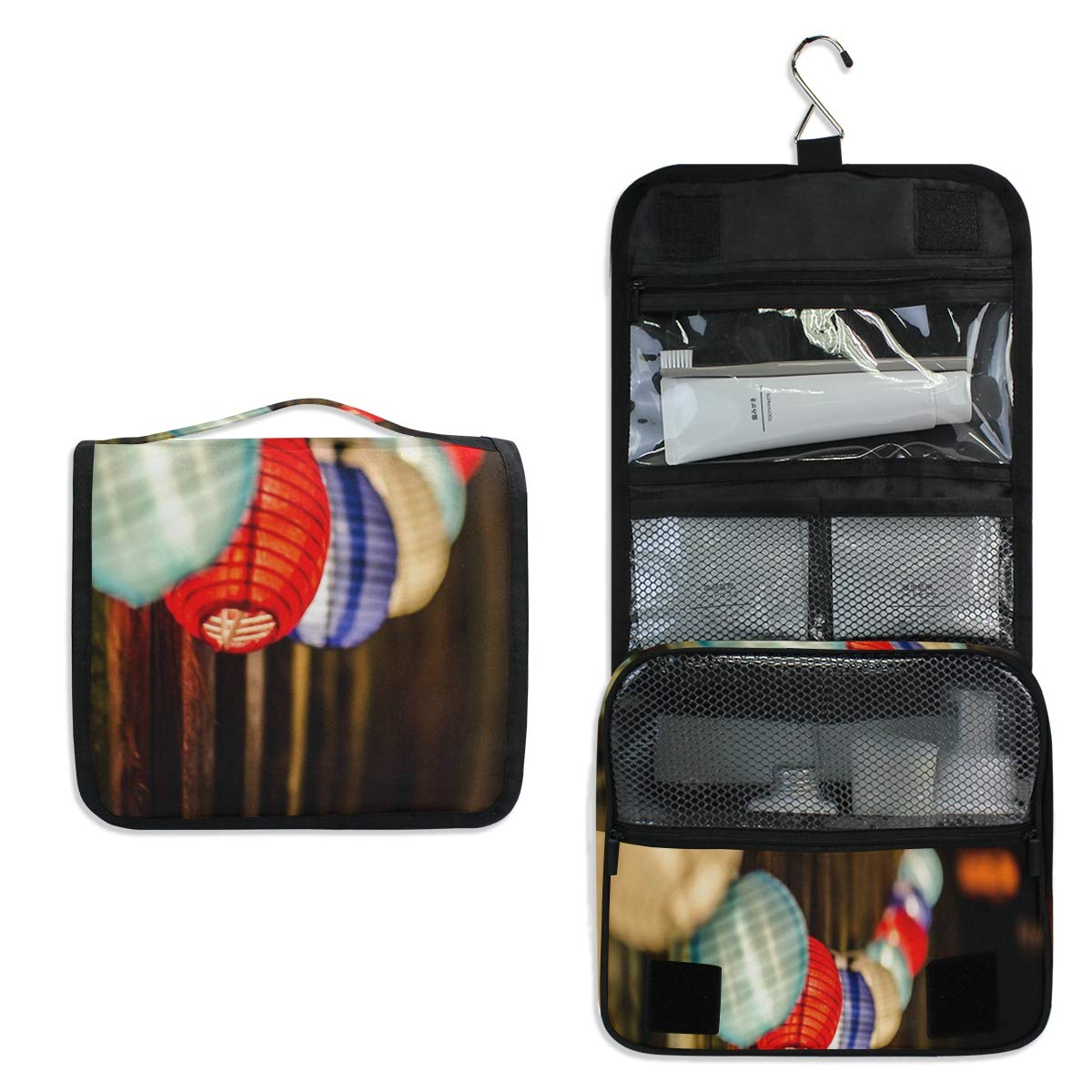 Hanging Toiletry Bag Lighting Ball Colored Wood Large Cosmetic Makeup Travel Organizer for Men & Women with Sturdy Hook