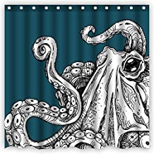 Atwtow Green Vintage Monster Octopus Tentacles Abstract Art Beautiful Amazing Bathroom Shower Curtain,72-Inch by 72-Inch,Unique and Generic Waterproof Polyester Fabric Decorative Bath Curtain Designs