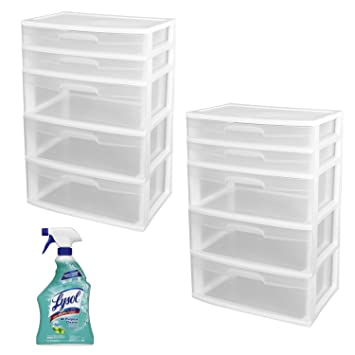 Sterilite 5 Drawer Wide Tower Storage Unit, 2 PACK In White With Lysol