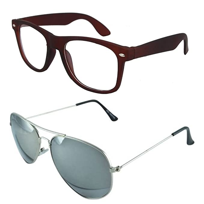 29fda34f44c Sheomy Combo Pack of Full Rim Unisex Spectacle Frame and Silver Mercury UV  Protected Sport Unisex