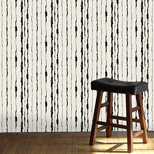 2 Black Striped Wallpaper Rolls - Robin Ann Meyer Effusion Stripe Wallcovering (2ft x 10ft roll, Black & Ivory)