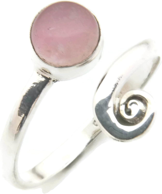 Anillo de plata de ley 925 cuarzo rosa verstellbar (No: MRI 102)