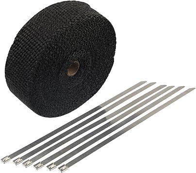 rollo de envoltura de calor de escape negro Envoltura de tubo de escape de 16 pies kit de envoltura de cabezal de escape con lazos de acero inoxidable para motocicleta