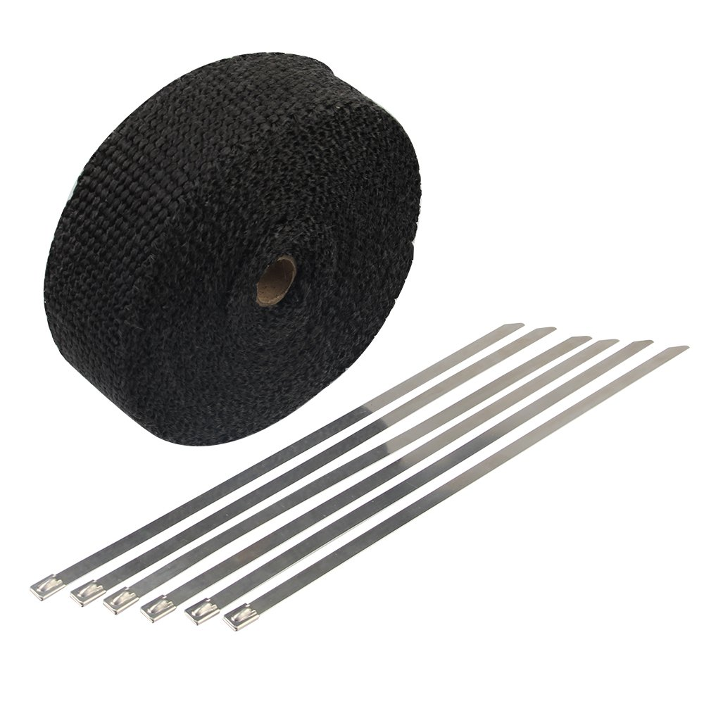 HM&FC Double Thickness Black Exhaust Wrap with Size 0.12 Inch (T) 32 Feet (L) 2 Inch (W)